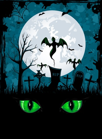 halloween eyeball: Grunge Halloween night background, illustration