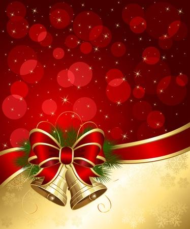 blurry lights: Sfondo Natale con campane e luci sfocate, illustrazione