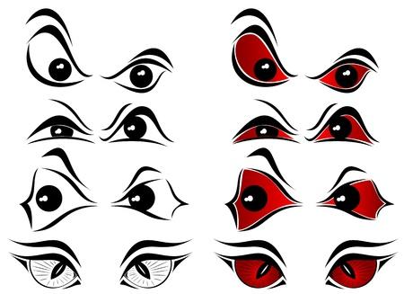 evil: Set of evil eyes on white background, illustration