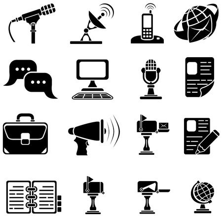 transmitter: Set of sixteen black icons on white background, illustration
