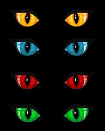 tigres: Conjunto de ojos mal sobre fondo negro, ilustraci�n