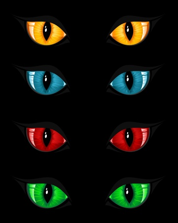 Set of evil eyes on black background, illustration Stock Vector - 10490865