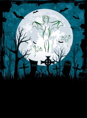 all saints day: Grunge Halloween night background, illustration