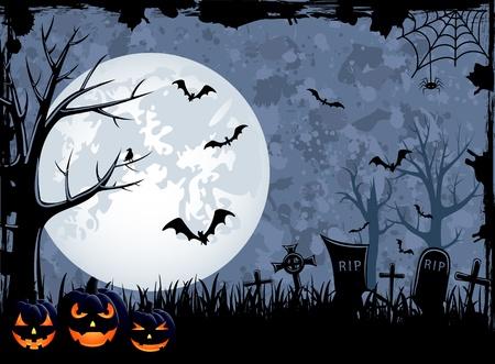 spider web: Grunge Halloween night background, illustration