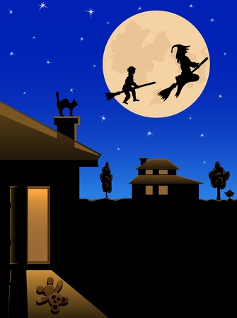 The witch and the boy fly on the night sky on the moon background, illustration Vector