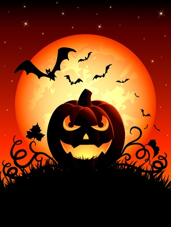 Halloween night background with Jack O Lantern, illustration Vector