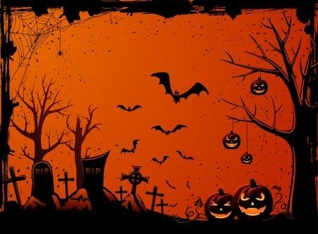 Grunge Halloween night background, illustration Vector