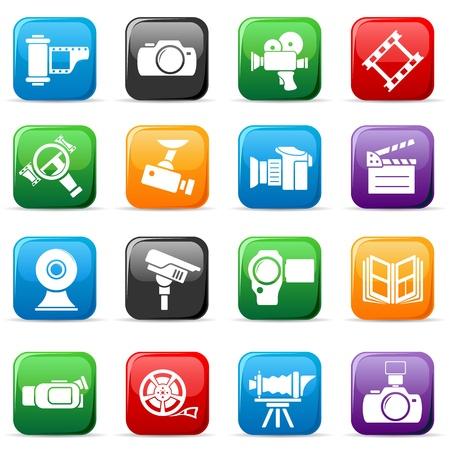 Set van gekleurde video en foto knoppen, illustratie