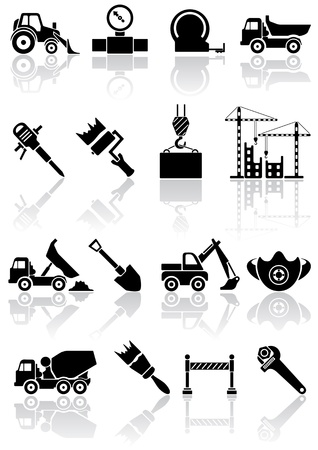 Set of black building icons, illustration Vector