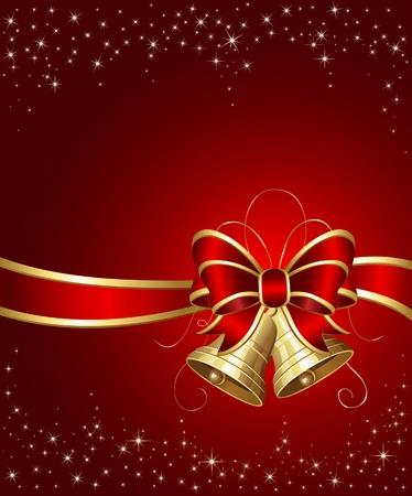 estrellas de navidad: Campanas de Navidad con cinta sobre fondo rojo, ilustración