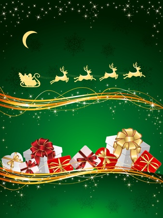 tinsel: Christmas background with Presents, snowflakes and Santa's sleigh, illustration