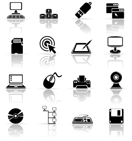 usb disk: Set of black computer icons, illustration