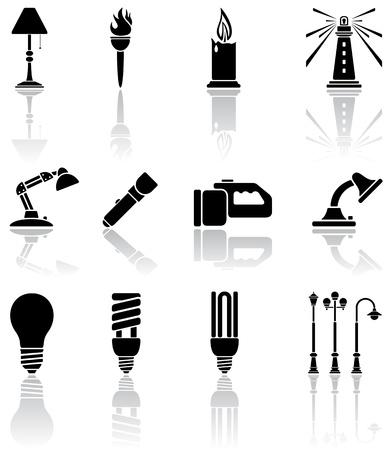 Conjunto de iconos de luces negro, ilustración Ilustración de vector