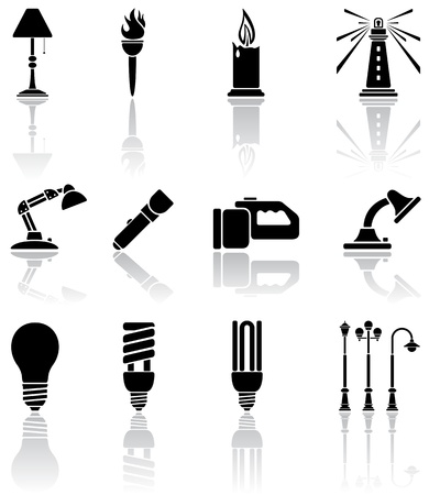 lamp shade: Set of black lights icons, illustration Illustration