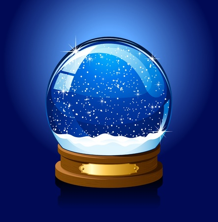 Christmas Snow globe with the falling snow, illustration Illustration