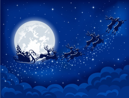 Christmas background with Santa sleigh, illustration