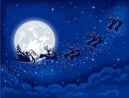 De fondo de Navidad con Papá Noel en trineo, ilustración Ilustración de vector