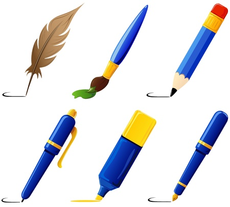 stylus pen: Set of six paint icons, illustration Illustration