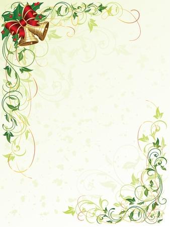 hulst: Decoratieve grunge achtergrond met florale elementen en kerstklokken, illustratie