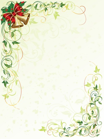 green leaves border: Decorative grunge background with floral elements and Christmas bells, illustration