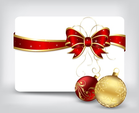 Background with card and Christmas balls, illustration Vector