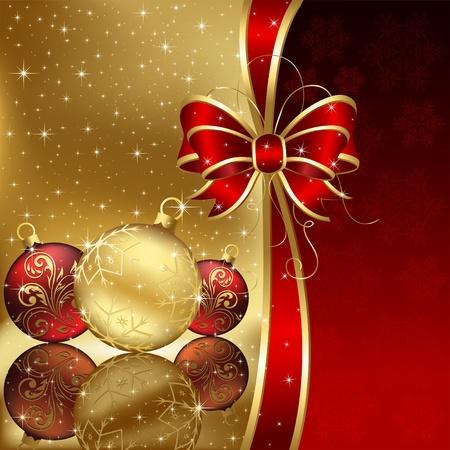 motivos navideños: Fondo con estrellas y bolas de Navidad, ilustración