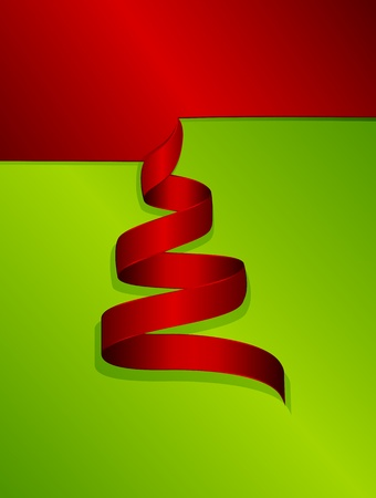 Christmas tree from the red curled paper, illustration Vector