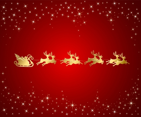 Christmas background with Santa sleigh, illustration Vector