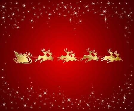 papa noel en trineo: De fondo de Navidad con Papá Noel en trineo, ilustración