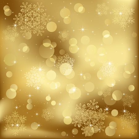 Abstract background, with stars, snowflakes and blurry lights, illustration Ilustração