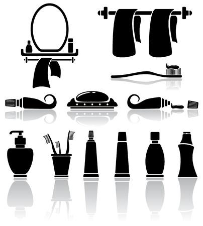 pasta dental: Conjunto de iconos de baño negro, ilustración