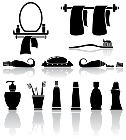 toothpaste: Set of black bathroom icons, illustration Illustration