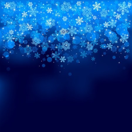 Abstract background, with stars, snowflakes and blurry lights, illustration Illustration