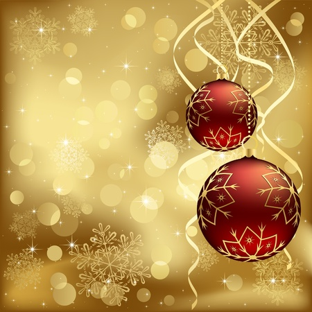 blurry lights: Abstract background, with Christmas baubles, stars, snowflakes and blurry lights, illustration