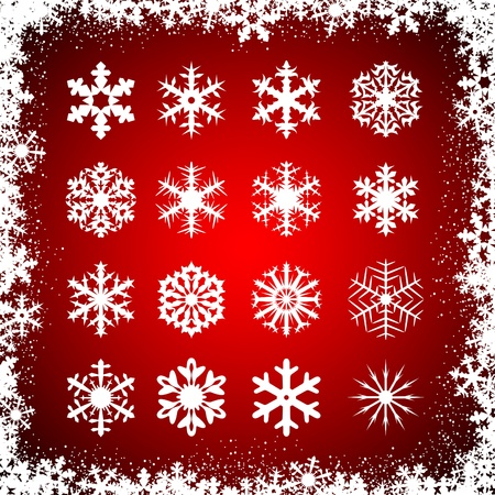 Set of snowflakes on red background, illustration Stock Vector - 11157919