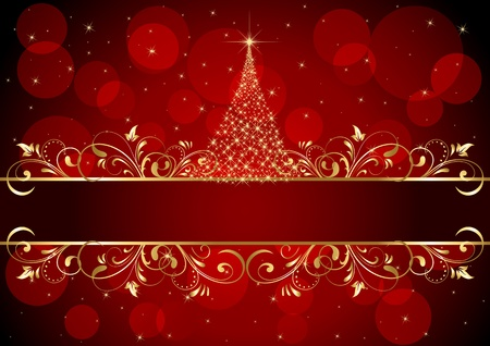defocus: Abstract background with golden frame and Christmas tree, illustration