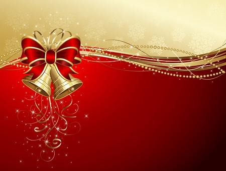 campanas de navidad: Fondo de Navidad con campanas, arco, estrellas y copos de nieve, ilustración Vectores