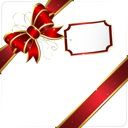 gold corner: Holiday bow and ribbon, illustration
