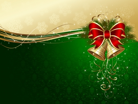 Christmas background with bells, bow, stars and snowflakes, illustration