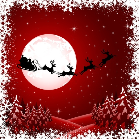 Background with Santa�s sleigh, Christmas tree and stars, illustration Vector