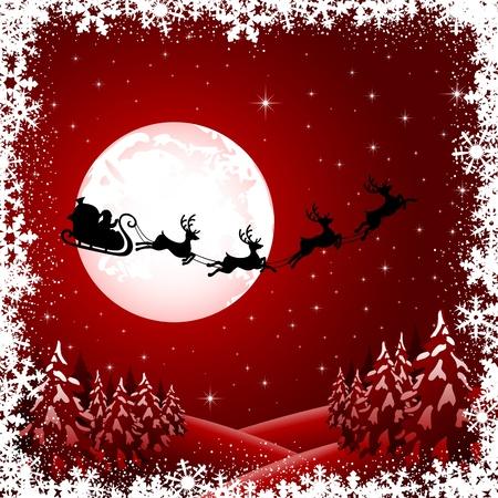 papa noel en trineo: Fondo con las Santas trineo, árbol de navidad y las estrellas, ilustración