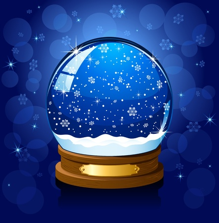 snow globe: Christmas Snow globe with the falling snow, illustration Illustration