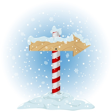 sign pole: North Pole sign with the falling snow, illustration Illustration
