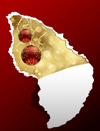 Torn paper with snowflakes and Christmas bauble, illustration  Vector