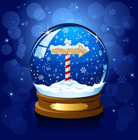 sign pole: Christmas Snow globe with North Pole sign and the falling snow, illustration