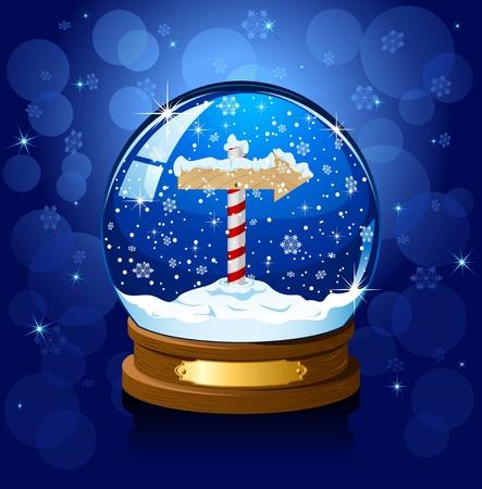 Christmas Snow globo con segno Polo Nord e la neve che cade, illustrazione
