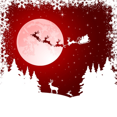 Background with Santa's sleigh, Christmas tree and deer, illustration Vector