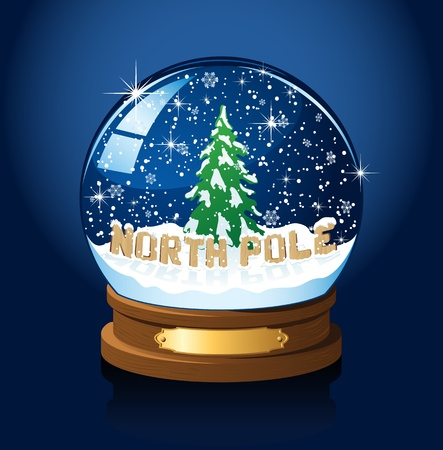 snow falling: Snow globe with North Pole, Christmas tree and the falling snow, illustration