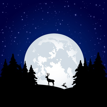 Silhouette of a two deer on Moon background, illustration Vector