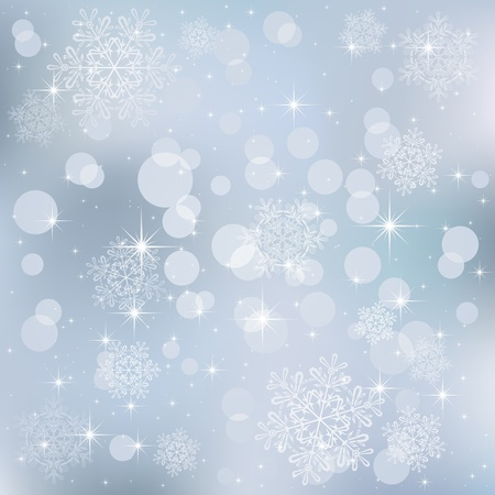 defocus: Abstract background, with stars, snowflakes and blurry lights, illustration Illustration